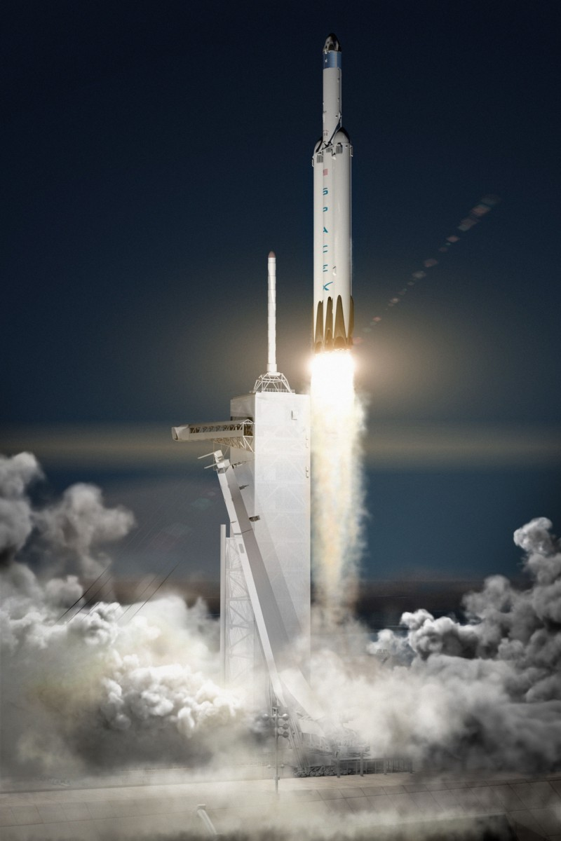 The SpaceX Falcon Heavy carries the unmanned Red Dragon capsule to Mars.